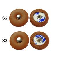 Tampon pour saxophone peau brune, rivet, de 14 à 23.5 mm